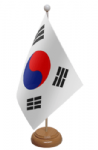 South Korea Desk / Table Flag with wooden stand and base